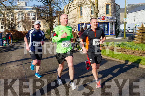 Den McCarthy, John Walshe, Anthony Donnelly, participants in the Kerry's Eye Valentines Weekend 10 mile road race on Sunday.
