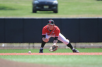 Rutgers University Scarlet Knights infielder Christian Campbell (8) during practice before a game against the University of Cincinnati Bearcats at Bainton Field on April 19, 2014 in Piscataway, New Jersey. Rutgers defeated Cincinnati 4-1.  (Tomasso DeRosa/ Four Seam Images)
