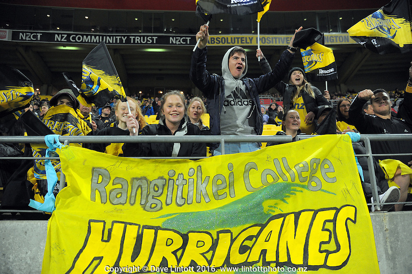 Fans in the grandstand during the Super Rugby match between the Hurricanes and Blues at Westpac Stadium, Wellington, New Zealand on Saturday, 2 July 2016. Photo: Dave Lintott / lintottphoto.co.nz