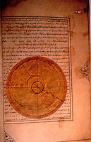World Civilization:  Islamic Technology--Drawing of the orbit of the planet Mercury on April 25, 1384, birthdate of Iskandar Sultan, from a nativity book, 1411, Iran, Timurid Dynasty.
