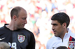 23 May 2006: The United States goalkeeper Kasey Keller (l) and captain Claudio Reyna (r) before the game. The United States Men's National Team lost 1-0 to their counterparts from Morocco at the Nashville Coliseum in Nashville, Tennessee in a men's international friendly soccer game.