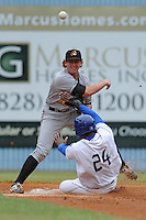 West Virginia Powers second baseman Dan Gamache #10 makes a throw to first over a hard sliding Delta Cleary Jr. during a game against the Asheville Tourists  at McCormick Field on June 10, 2012 in Asheville, North Carolina . The Tourists defeated the Power 13-3. (Tony Farlow/Four Seam Images).