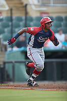 Israel Pineda (20) of the Hagerstown Suns hustles down the first base line against the Kannapolis Intimidators at Kannapolis Intimidators Stadium on August 27, 2019 in Kannapolis, North Carolina. The Intimidators defeated the Suns 5-4. (Brian Westerholt/Four Seam Images)