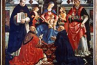Renaissance Art:  Domenico Ghirlandaio (1449-94)--The Virgin Mary on Throne.  Galleria Uffizi.