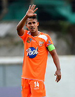 ENVIGADO - COLOMBIA, 03-04-2019: Jairo Palomino de Envigado F. C., celebra el gol anotado a Atlético Bucaramanga durante partido entre Envigado F. C. y Atlético Bucaramanga de la fecha 13 por la Liga Águila I 2019, en el estadio Polideportivo Sur de la ciudad de Envigado. / Jairo Palomino of Envigado F. C., celebrates a scored goal to Atletico Bucaramanga, during a match between Envigado F. C., and Atletico Bucaramanga of the 13th date  for the Leguaje Aguila I 2019 at the Polideportivo Sur stadium in Envigado city. Photo: VizzorImage / León Monsalve / Cont.