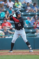 Corey Zangari (22) of the Kannapolis Intimidators at bat against the Hickory Crawdads at L.P. Frans Stadium on July 20, 2018 in Hickory, North Carolina. The Crawdads defeated the Intimidators 4-1. (Brian Westerholt/Four Seam Images)