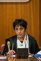 La presidente della Corte Rosanna Ianniello durante l'udienza di apertura del processo su Mafia Capitale, al Tribunale di Roma, 5 novembre 2015.<br /> Court's president Rosanna Ianniello attends the opening audience of the trial on Mafia Capitale, at Rome's court, 5 November 2015.<br /> UPDATE IMAGES PRESS/POOL - AGF - Alessandro Serrano'˜