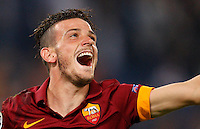 Calcio, Champions League, Gruppo E: Roma vs CSKA Mosca. Roma, stadio Olimpico, 17 settembre 2014.<br /> Roma midfielder Alessandro Florenzi celebrates after CSKA Moskva defender Sergei Ignashevic scored an own goal during the Group E Champions League football match between AS Roma and CSKA Moskva at Rome's Olympic stadium, 17 September 2014. AS Roma won 5-1.<br /> UPDATE IMAGES PRESS/Riccardo De Luca