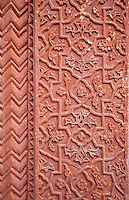 Fatehpur Sikri, Uttar Pradesh, India.  Decorative Carving in Stone Pillar of the Diwan-i-Khas (Hall of Private Audience) of Emperor Jalal el-Din Akbar.
