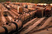 String of Tank Cars in Port Terminal Rail Yard - Port of Houston. Houston Texas USA Port Terminal Rail Yard.
