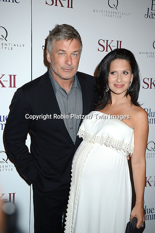 """Alec Baldwin and wife Hilaria Baldwin attend the New York Premiere of  """"Blue Jasmine"""" on    July 22, 2013 at MoMA in New York City. Woody Allen wrote and directed the movie and it stars Alec Baldwin, Cate Blanchett, Louis C.K., Andrew Dice Clay, Peter Sarsgaard and Michael Stuhlbarg."""