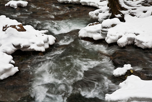 Snow blankets Rocky Fork Creek, Unicoi County