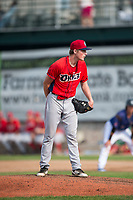 Orem Owlz starting pitcher John Swanda (5) looks in for the sign during a Pioneer League game against the Missoula Osprey at Ogren Park Allegiance Field on August 19, 2018 in Missoula, Montana. The Missoula Osprey defeated the Orem Owlz by a score of 8-0. (Zachary Lucy/Four Seam Images)