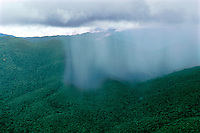 Aerial of tropical rainstorm showing rainshaft over rainforest in Guyana Highlands, Venezuela.