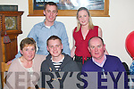 Declan Dillane, Currovough, Tralee, seated between his parents Kathleen and Denis, celebrated his 23rd birthday in Bella Bia, Tralee last Friday night, also present were Kieran and Caroline Dillane.