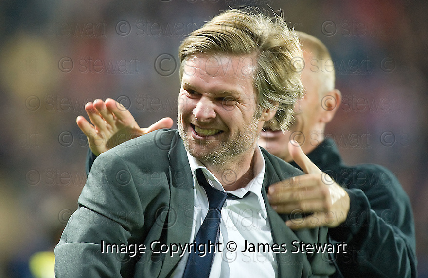 21/09/2010   Copyright  Pic : James Stewart.sct_jsp014_falkirk_v_hearts  .:: FALKIRK MANAGER STEVEN PRESSLEY CELEBRATES AFTER MARK STEWART SCORES THE WINNING FOURTH GOAL FOR FALKIRK :: .James Stewart Photography 19 Carronlea Drive, Falkirk. FK2 8DN      Vat Reg No. 607 6932 25.Telephone      : +44 (0)1324 570291 .Mobile              : +44 (0)7721 416997.E-mail  :  jim@jspa.co.uk.If you require further information then contact Jim Stewart on any of the numbers above.........