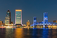 The iconic skyline of Jacksonville at night.