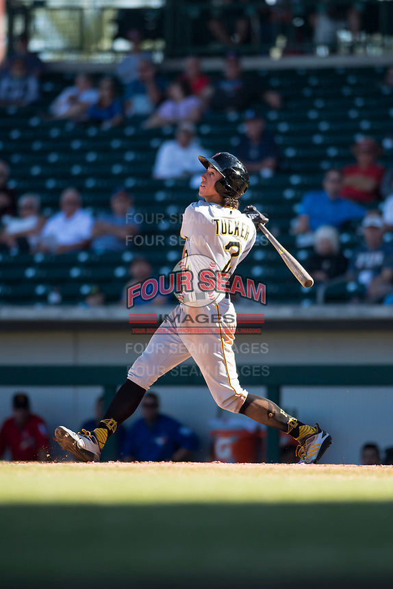 Surprise Saguaros shortstop Cole Tucker (2), of the Pittsburgh Pirates organization, follows through on his swing during an Arizona Fall League game against the Mesa Solar Sox at Sloan Park on November 1, 2018 in Mesa, Arizona. Surprise defeated Mesa 5-4 . (Zachary Lucy/Four Seam Images)