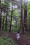 Violet Peters, leads the way up a hill during a Hike It Baby/ Catskills-Woodstock sponsored hike into the Esopus Bend Nature Preserve in Saugerties, NY, on Memorial Day Monday, May 30, 2016. Photo by Jim Peppler. Copyright Jim Peppler 2016<br /> The hike was led by HIB.Catsjill-Woodstock, Ambassador, Ann Peters, accompanied by her husband, John Peters, their daughter, Violet; HIB chapter co-Ambassador, Ali Troxell, with her daughter, Lucia; and Robin Willens, and her son, Landon. They entered at the Sterley Avenue entrance and walked thru to the landing area on the Esopus.