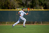 FIU Panthers left fielder Lorenzo Hampton, Jr. (34) catches a fly ball during a game against the South Dakota State Jackrabbits on February 23, 2019 at North Charlotte Regional Park in Port Charlotte, Florida.  South Dakota defeated FIU 4-3.  (Mike Janes/Four Seam Images)