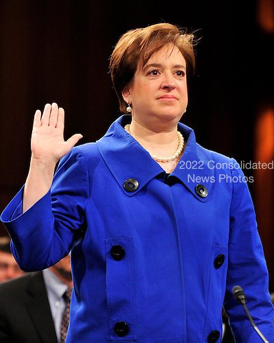 United States Solicitor General Elena Kagan is sworn-in to testify during her confirmation hearing as Associate Justice of the United States Supreme Court before the U.S. Senate Judiciary Committee in Washington, D.C. on Monday, June 28, 2010..Credit: Ron Sachs / CNP