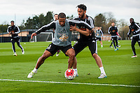 Tuesday 19 April 2016<br /> Pictured:  ( L-R )Wayne Routledge of Swansea City  and Neil Taylor of Swansea City  in action during training. <br /> Re: Swansea City Training Session ahead of the away game against Leicester City FC