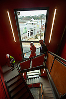 NWA Democrat-Gazette/BEN GOFF @NWABENGOFF<br /> A stair well offers a view of the Nadine Baum Studios Friday, March 1, 2019, in the new TheatreSquared building under construction in downtown Fayetteville.