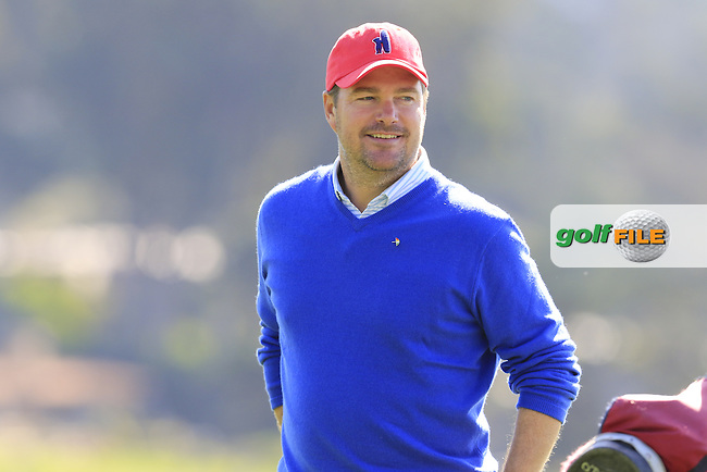 Actor Chris O'Donnell chips onto the 13th green and holes it at Pebble Beach Golf Links during Sunday's Final Round 4 of the 2017 AT&amp;T Pebble Beach Pro-Am held over 3 courses, Pebble Beach, Spyglass Hill and Monterey Penninsula Country Club, Monterey, California, USA. 12th February 2017.<br /> Picture: Eoin Clarke | Golffile<br /> <br /> <br /> All photos usage must carry mandatory copyright credit (&copy; Golffile | Eoin Clarke)