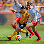 Utah Royals FC midfielder Diana Matheson (10) tries to steal the ball from Chicago Red Stars defender Casey Short (6) in the second half Saturday, April 14, 2018, during the National Woman Soccer League game at Rio Tiinto Stadium in Sandy, Utah. (© 2018 Douglas C. Pizac)