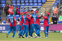 Afghanistan players quick to celebrate with wicket taker     Hamid Hassan (Afghanistan) during Afghanistan vs Sri Lanka, ICC World Cup Cricket at Sophia Gardens Cardiff on 4th June 2019