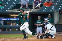 Edgar Michelangeli (16) of the Miami Hurricanes follows through on his swing against the North Carolina Tar Heels in the second semifinal of the 2017 ACC Baseball Championship at Louisville Slugger Field on May 27, 2017 in Louisville, Kentucky. The Tar Heels defeated the Hurricanes 12-4. (Brian Westerholt/Four Seam Images)