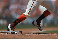 SAN FRANCISCO, CA - JULY 9:  Detail of Nike cleats worn by Denard Span #2 of the San Francisco Giants as he bats against the Miami Marlins during the game at AT&T Park on Sunday, July 9, 2017 in San Francisco, California. (Photo by Brad Mangin)