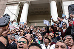 Egyptian Lawyers take part in a protest against US President Donald Trump's decision to recognise Jerusalem as the capital of Israel at the Lawyers Syndicate in Cairo, Egypt, Sunday, Dec. 10, 2017. Photo by Amr Sayed