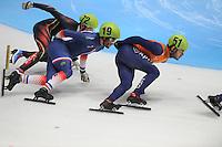 SHORTTRACK: DORDRECHT: Sportboulevard Dordrecht, 24-01-2015, ISU EK Shorttrack, Firat YARDIMCI (TUR | #72), Thibaut FAUCONNET (FRA | #19), Sjinkie KNEGT (NED | #51), ©foto Martin de Jong