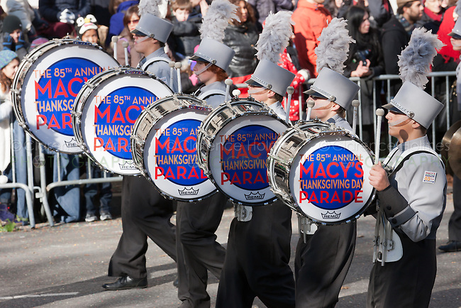 NEW YORK - NOVEMBER 24:  Members of the Plymouth-Canton Marching band perform during the annual Macy's Thanksgiving Day Parade on Thursday, November 24, 2011.
