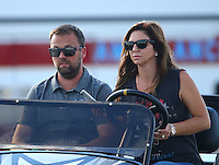 Sep 3, 2016; Clermont, IN, USA; NHRA pro mod driver Jonathan Gray with wife KayAnne Gray during qualifying for the US Nationals at Lucas Oil Raceway. Mandatory Credit: Mark J. Rebilas-USA TODAY Sports