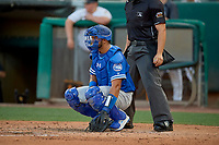 Keibert Ruiz (33) of the Oklahoma City Dodgers on defense against the Salt Lake Bees at Smith's Ballpark on August 1, 2019 in Salt Lake City, Utah. The Bees defeated the Dodgers 14-4. (Stephen Smith/Four Seam Images)