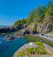 Rocky shoreline at edge of Sandcut Beach. STrait of Juan de Fuca<br />