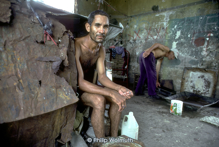 One of 90 squatter families living in the ruins of the Santo Domingo mansion once belonging to the former dictator Trujillo