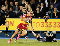 Dragons' Tyler Morgan breaks to setup his sides third try<br /> <br /> Photographer Simon King/CameraSport<br /> <br /> Guinness Pro14 Round 6 - Cardiff Blues v Dragons - Friday 6th October 2017 - Cardiff Arms Park - Cardiff<br /> <br /> World Copyright &copy; 2017 CameraSport. All rights reserved. 43 Linden Ave. Countesthorpe. Leicester. England. LE8 5PG - Tel: +44 (0) 116 277 4147 - admin@camerasport.com - www.camerasport.co