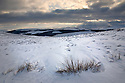 Moorland in winter, below Back Tor, Derwent Edge, Peak District National Park, UK. February.