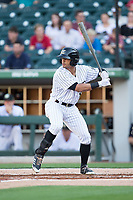 Jacob May (8) of the Charlotte Knights at bat against the Durham Bulls at BB&T BallPark on May 15, 2017 in Charlotte, North Carolina. The Knights defeated the Bulls 6-4.  (Brian Westerholt/Four Seam Images)