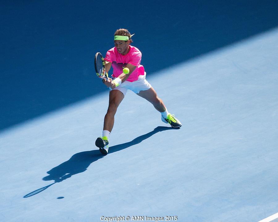 Rafael Nadal (ESP)<br /> <br /> Tennis - Australian Open 2015 - Grand Slam -  Melbourne Park - Melbourne - Victoria - Australia  - 25 January 2015. <br /> &copy; AMN IMAGES