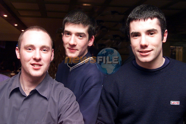 Ronan Mulroy, Sean Murray and Colm Doyle, from Togher, pictured enjoying a night in the Dunleer Inn..pic: Newsfile