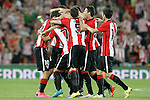 Athletic de Bilbao's players celebrate goal during Supercup of Spain 1st match.August 14,2015. (ALTERPHOTOS/Acero)