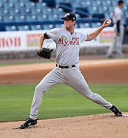 May 11, 2010 Pitcher Michael Tarsi of the Fort Myers Miracle, Florida State League Class-A affiliate of the Minnesota Twins, delivers a pitch during a game at George M. Steinbrenner Field in Tampa, FL. Photo by: Mark LoMoglio/Four Seam Images