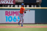 St. Lucie Mets shortstop Manny Rodriguez (13) throws to first base during a Florida State League game against the Bradenton Marauders on July 28, 2019 at LECOM Park in Bradenton, Florida.  Bradenton defeated St. Lucie 7-3.  (Mike Janes/Four Seam Images)