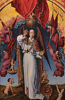 Archangel Michael weighing souls on Judgement Day, surrounded by 4 angels announcing the Last Judgement, from the open panels of the polyptych altarpiece, 1446-52, by Rogier van der Weyden, 1399-1464, commissioned by Nicolas Rolin in 1443, in Les Hospices de Beaune, or Hotel-Dieu de Beaune, a charitable almshouse and hospital for the poor, built 1443-57 by Flemish architect Jacques Wiscrer, and founded by Nicolas Rolin, chancellor of Burgundy, and his wife Guigone de Salins, in Beaune, Cote d'Or, Burgundy, France. The altarpiece was originally in the Chapel, but is now in the museum. The panels were only opened to patients during holy days. The hospital was run by the nuns of the order of Les Soeurs Hospitalieres de Beaune, and remained a hospital until the 1970s. The building now houses the Musee de l'Histoire de la Medecine, or Museum of the History of Medicine, and is listed as a historic monument. Picture by Manuel Cohen