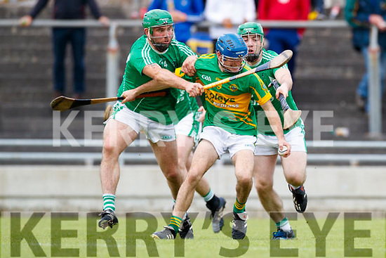 Mikey Boyle (Captain) Ballyduff in action against Brian McAuliffe Lixnaw in the Senior County Hurling Final in Austin Stack Park on Sunday
