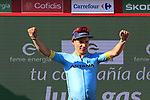 Miguel Angel Lopez Moreno (COL) Astana Pro Team retains the young riders White Jersey at the end of Stage 2 of La Vuelta 2019 running 199.6km from Benidorm to Calpe, Spain. 25th August 2019.<br /> Picture: Eoin Clarke | Cyclefile<br /> <br /> All photos usage must carry mandatory copyright credit (© Cyclefile | Eoin Clarke)